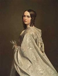 portræt af malvina hoskier, gift med j. p. trap by vilhelm (johan v.) gertner