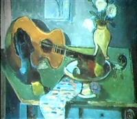stilleben mit gitarre by eugen goll