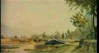 teichlandschaft mit bergen im hintergrund by nathanael lemaire