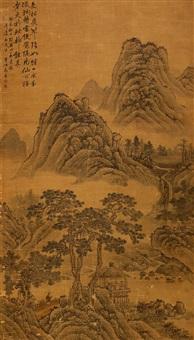 翠岭长松图 (landscape) by ma ang