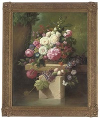 pink peonies, morning glory, hollyhocks, plums and grapes, on a stone plinth, with a blue butterfly to the side (+ pink roses, oriental poppy, lillies, morning glory, plums and grapes on a stone ledge by thomas webster