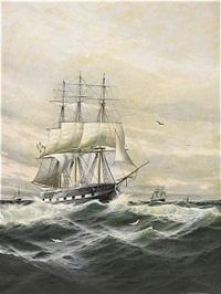 marin med segelfartyg i hög sjö by theodore victor carl valenkamph