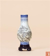 民国 粉彩 通景雪景山水脱胎小胆瓶 by liang duishi
