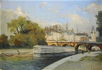 le pont-neuf et la sainte chapelle, paris by fernand (just) quignon