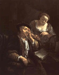 a scribe and his housekeeper by christoffel lubieniecki