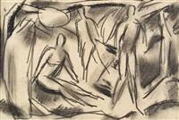 menschengruppe (+ figurenstudie; 2 works) by alfred lehmann