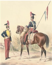 armée francaise - hussards (+ 7 others; 8 works) by ange-louis (janet-lange) janet