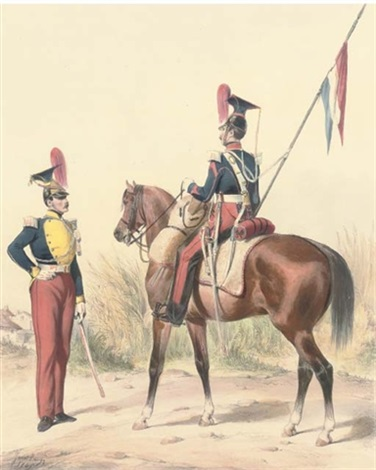 armée francaise hussards 7 others 8 works by ange louis janet lange janet