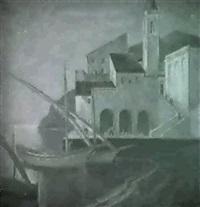 mediterranean port scene by otto thaemer