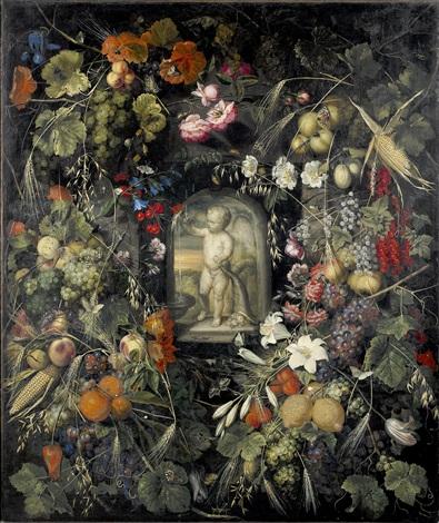 stilleben med exotiska frukter blommor och insekter by ottmar elliger the elder