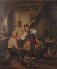 genreszene mit musizierendem knaben by hermann volz