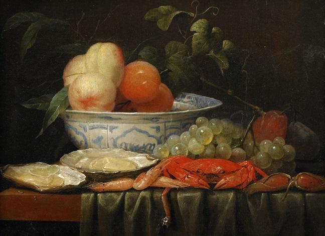stilleben med krabba vindruvor och persikor i en wanli skål by joris van son