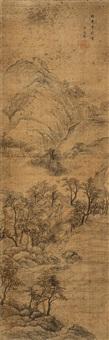 秋山古寺图 (landscape) by bian wenyu