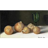 still life with onions by ranulph bye