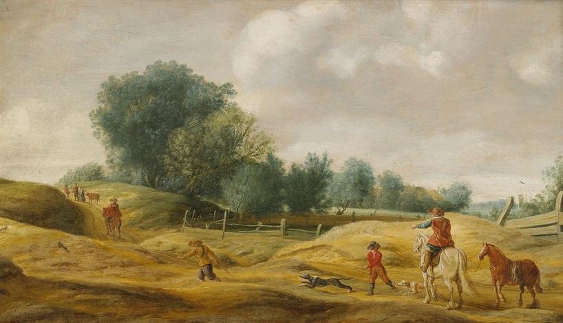 landskap med bönder som jagar harar by salomon van ruysdael