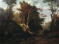 flusslandschaft mit bewaldetem ufer und ansteigendem fels by carl jungheim