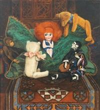 stilleben mit puppe, plüschtieren sowie harlekin, meisterlich auf orientteppich arrangiert by a. von overbeck