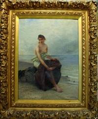 femme de pêcheur sur un rocher by august vilhelm nikolaus hagborg