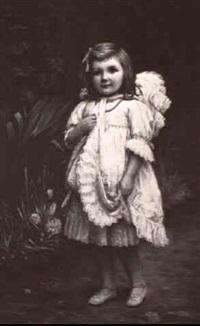 young girl in a garden by john adamson