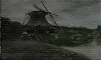 ostfriesischer kanal, an dessen ufer eine machtige     bockwindmuhle steht by adolf fischer-gurig