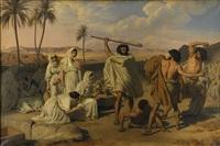 josef försvarar jethros döttrar vid vattenhålet by eugène roger