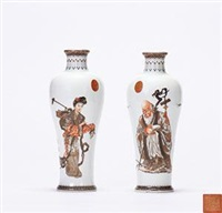 近代 墨彩 描金《麻姑寿》赏瓶 (一对) (pair) by lei huolian