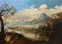 südamerikanische uferlandschaft mit angelegtem boot, reicher personenstaffage und weitem blick by frans jansz post