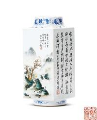 山水草虫琮式瓶 (a landscape square vase) by wang yeting and liu yucen
