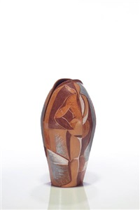 brown oval figure vase by carmen collell