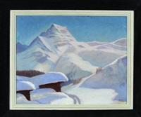 zwei hütten in tief verschneiter gebirgslandschaft by richard klein