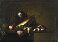 vanitas med fåglar, bok, glob, timglas och ljusstake by petrus schotanus