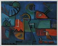 figural geometrische abstraktion auf blauem grund by rolf diener