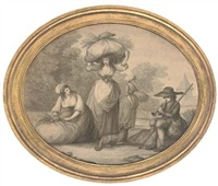 gleaners (+ another; 2 works by charles knight) by henry william bunbury