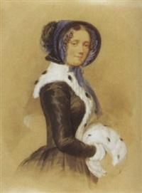 porträt einer jungen frau mit hermelinmuff by leopold fischer