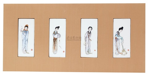 粉彩仕女 (一套) a set of ladies planks 4 works by liu xiren