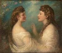 portrait der schwestern elisabeth und sofie kraetzer by eduard von heuss