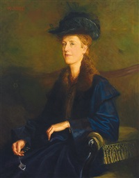 halbfigürliches portrait einer dame in pelzverbrämtem kleid mit lorgnon in der rechten by karl jobst