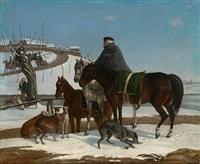hohe berittene russische militärs in stürmischer schneelandschaft zur zeit der napoleonischen kriege (+ another; pair) by franz krüger