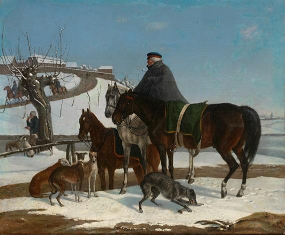 hohe berittene russische militärs in stürmischer schneelandschaft zur zeit der napoleonischen kriege another pair by franz krüger