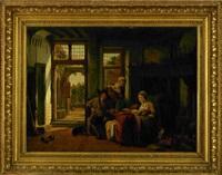 interiör med familjescen by abraham van stry the elder