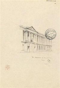 卢浮宫石柱廊画稿 by liang sicheng