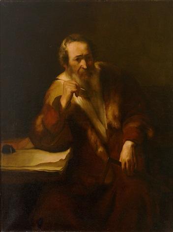 portrait eines bärtigen gelehrten mit pelzverbrämtem mantel in typischer charakterisierung by leo von könig