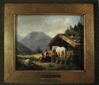 bäuerin füttert ihre stute mit fohlen, schaf und ziege auf der alm by karl lieske