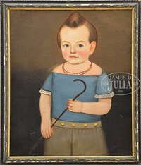 child in blue with a cane by william w. kennedy