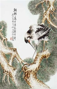 民国 粉彩 《松鹤延年》图挂屏 by xu zhongnan