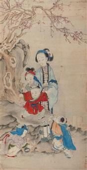 婴戏图 (landscape and character) by jiao hegui
