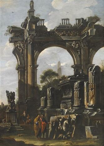 capriccio av romersk ruin och figurer by giovanni paolo panini