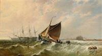 Segelfartyg vid kusten, 1862