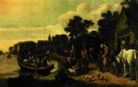 holländskt flodlandskap med figurer by jan victors