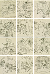 西游记·八戒义激美猴王连环画 原稿(全) (original work of the comic book strip journey to the west·monk pig goading monkey king (complete)) (114 works) by yu shui and lin yuan